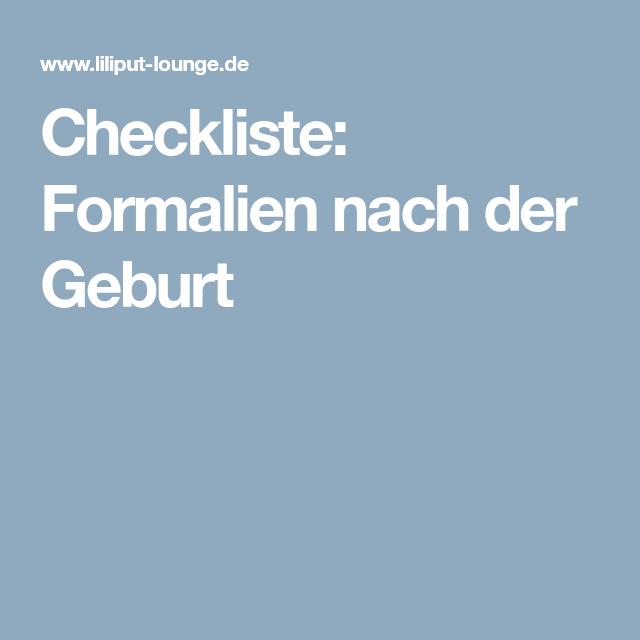 Checkliste: Formalien nach der Geburt