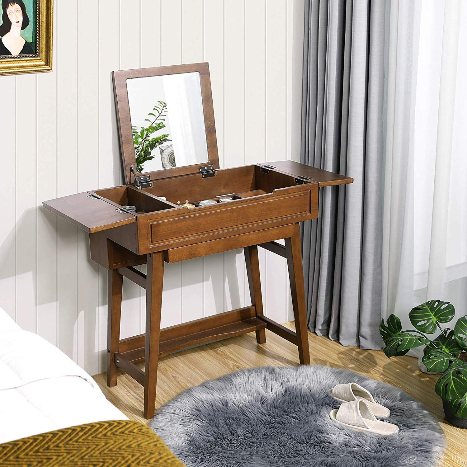 VASAGLE Vanity Table with Flip Top Mirror, Solid Wood