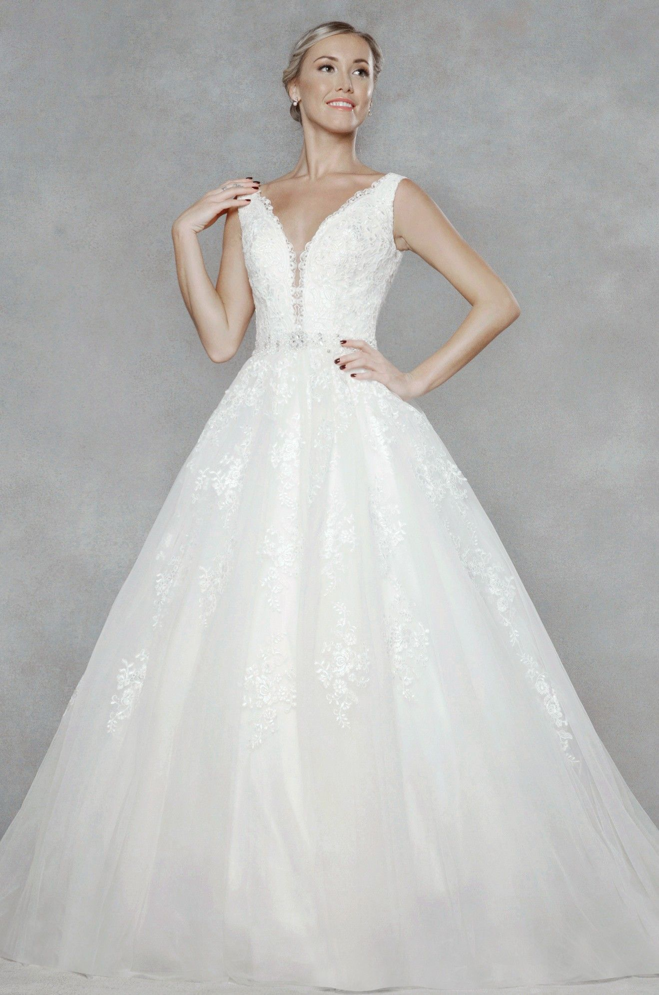 elegant lace appliques adorn the tulle in this stunning