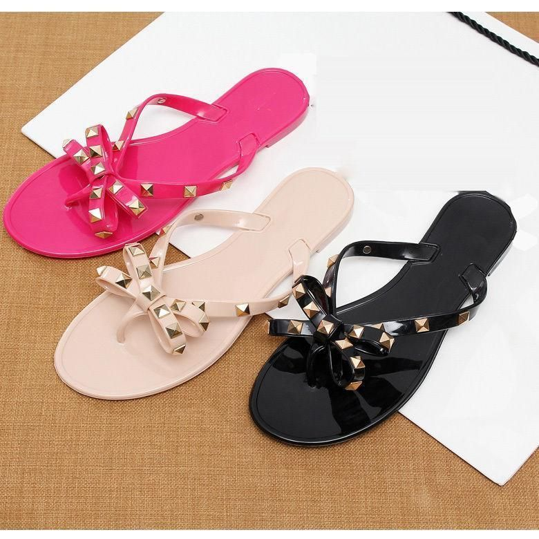 383cb166c733b4 2016 Womens Sandal Flat Rivet Bowknot Flip Flop Mules Summer Beach Slipper  Shoes