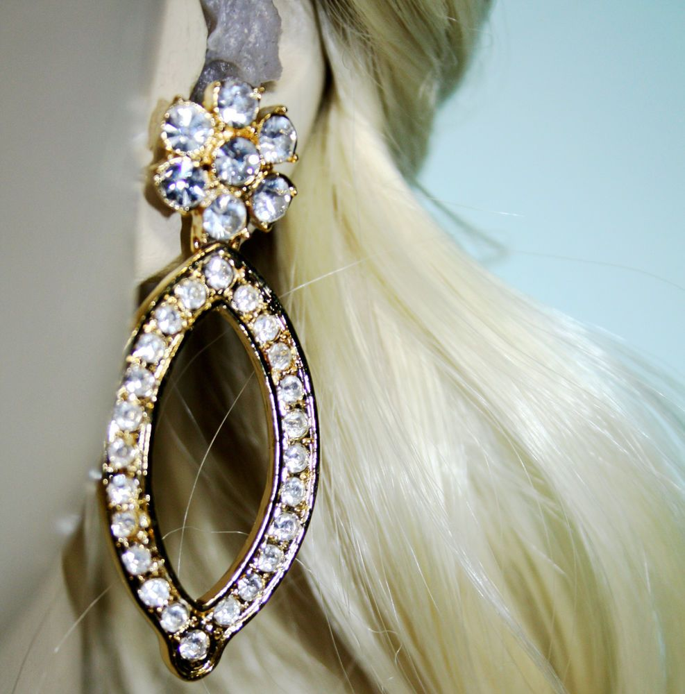Rhinestone Chandelier Earrings Austrian Crystal Bridal Jewelry – Gold Tone Chandelier Earrings
