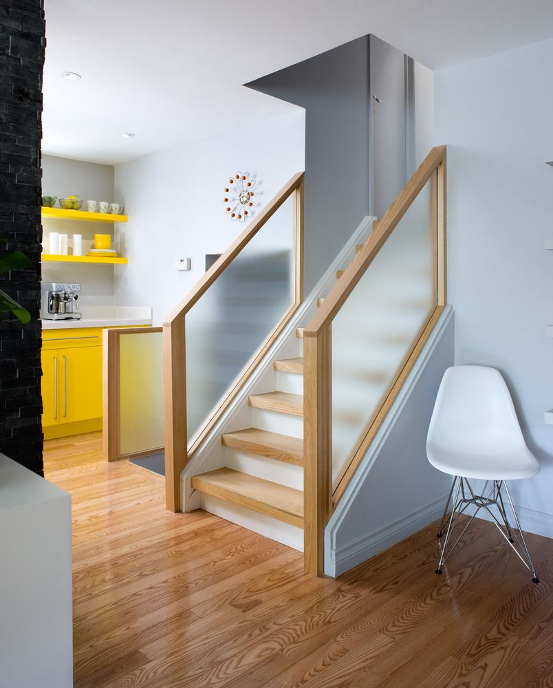 Lighting Basement Washroom Stairs: Colin & Justin Replaced The Old Stair Bannister With Wood