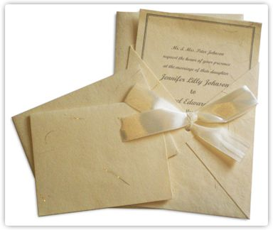 Handmade paper ivory with gold thread wedding invitation Kit