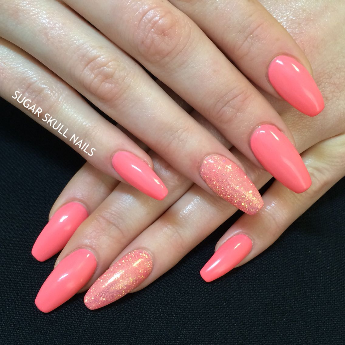 Coral And Glitter On Coffin Nails Coral Nails Glitter Coral Nails Trendy Nails