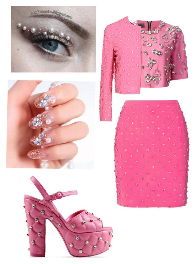 """Making fun of rhinestone stuff"" by foreverwithanime ❤ liked on Polyvore featuring mode, Emanuel Ungaro en Moschino"