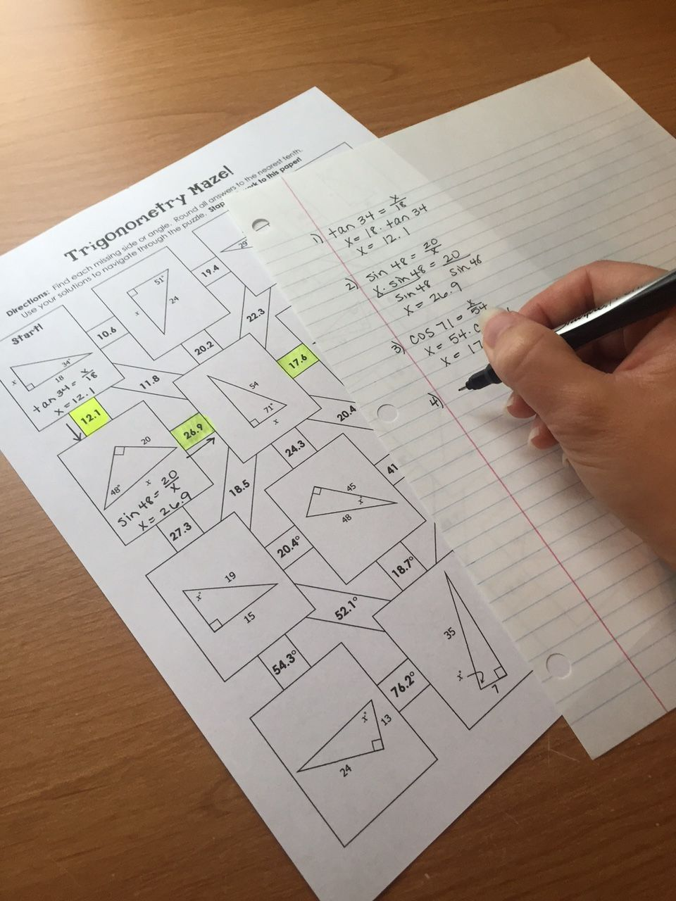 Right Triangle Trigonometry (SOH CAH TOA) Mazes ...