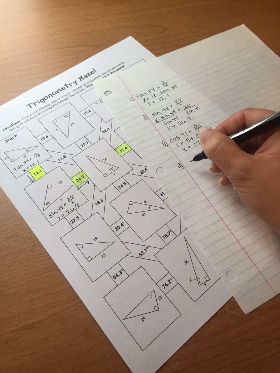Right Triangle Trigonometry (SOH CAH TOA) Mazes
