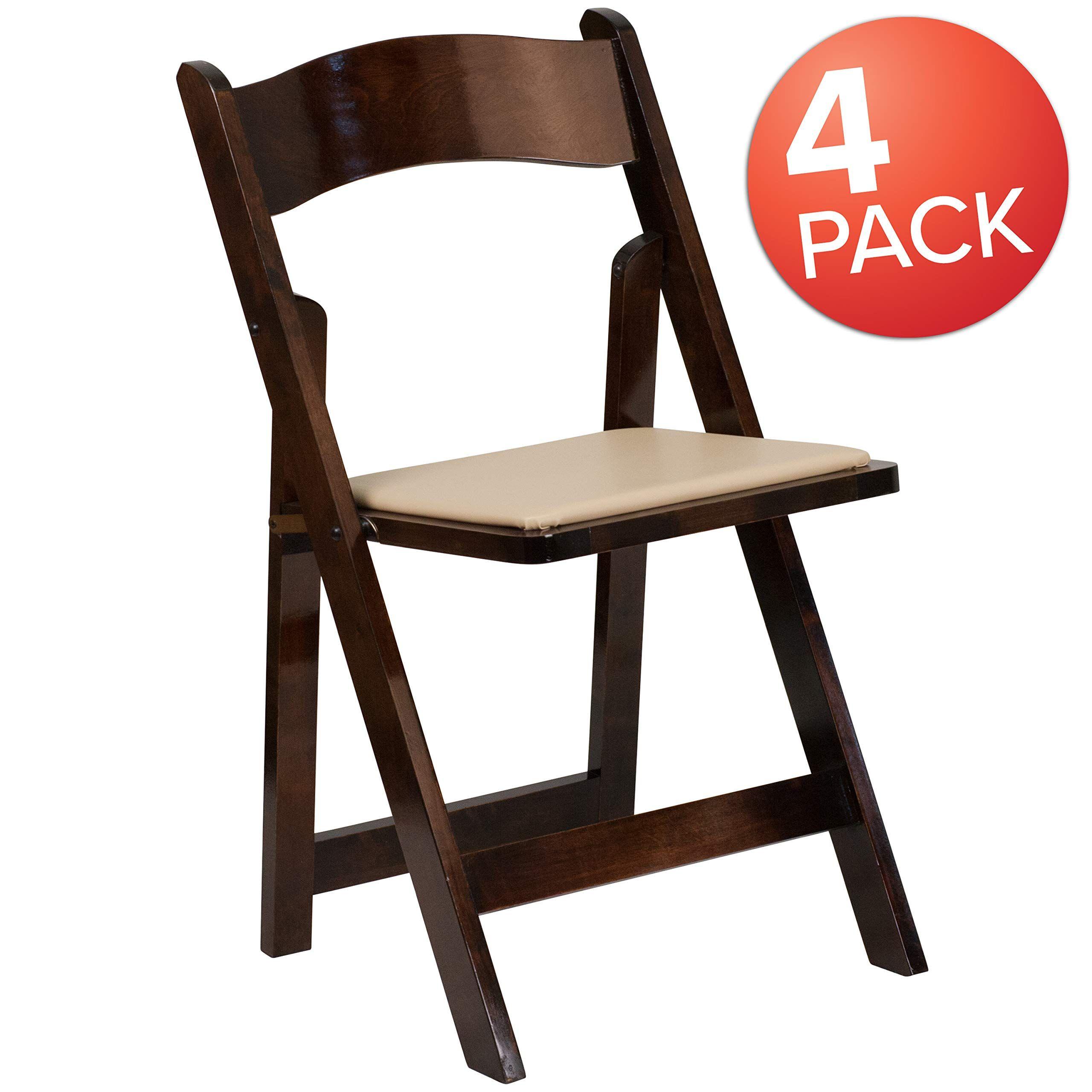 Flash Furniture 4 Pk Hercules Series Fruitwood Wood Folding Chair