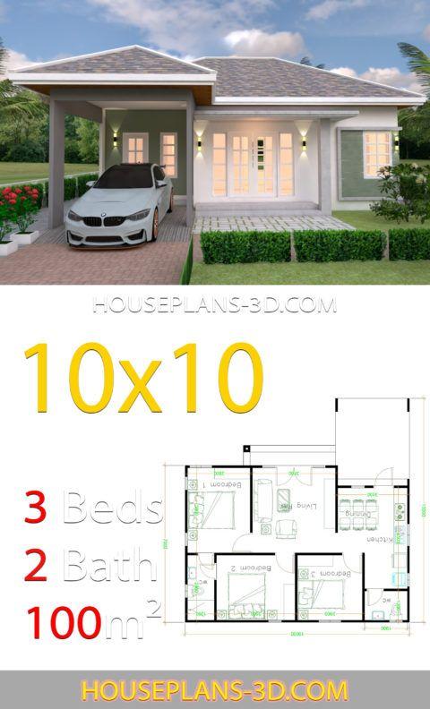 10x10 Bedroom Floor Plan: Interior House Design Plans 10x10 With 3 Bedrooms Full