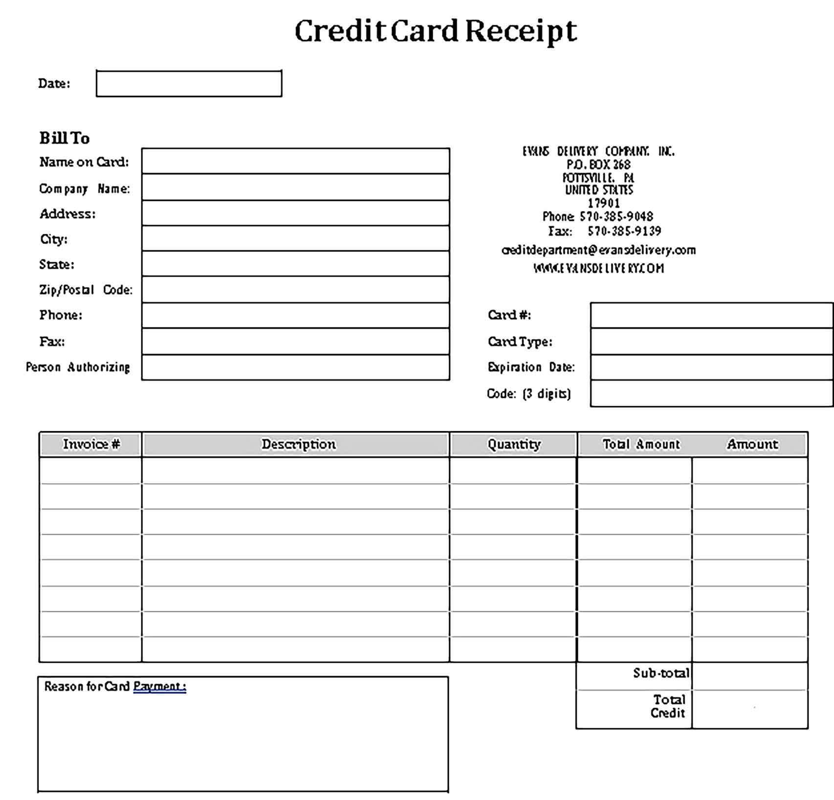 Credit Card Receipts Sample