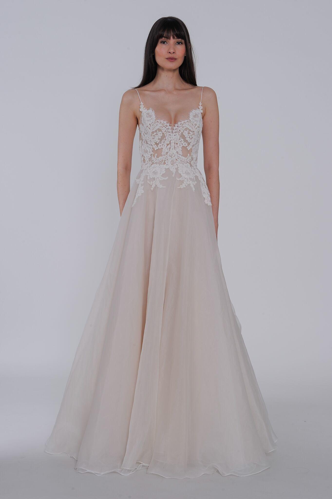 Lace spaghetti strap wedding dress  Lazaro Spring  Wedding Dress Collection  Bridals By Lori
