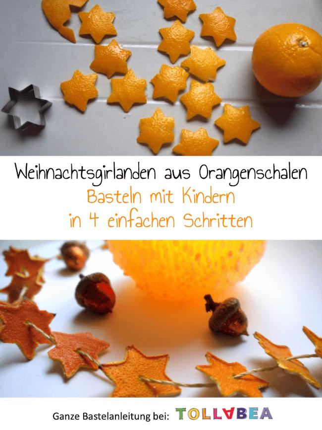 Weihnachtsgirlanden aus Orangenschalen – Basteln mit Kindern #weihnachtenbastelnmitkindern