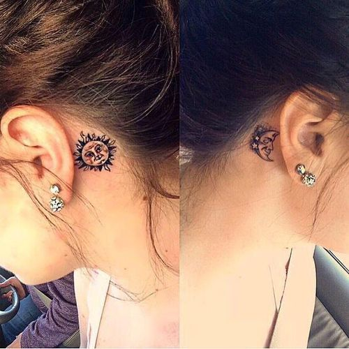 Cute Small Sun And Moon Tattoo Behind The Ear Ink Youqueen Girly Tattoos Behind Ear Tattoos Sun Tattoos Ear Tattoo