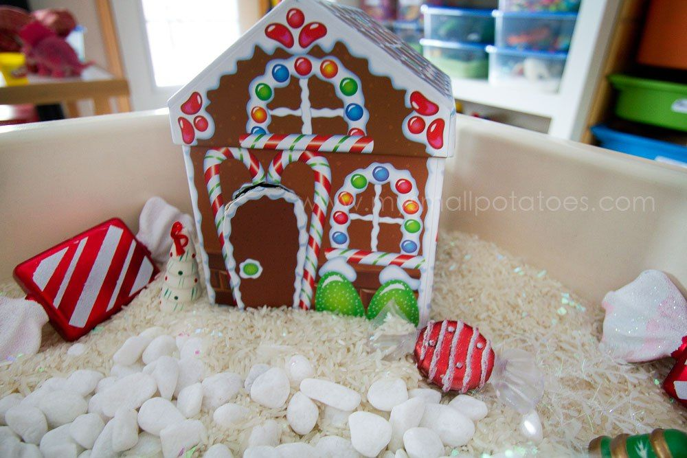 Gingerbread House Candy Land Sensory Box With White Rice Dollar Store Ornaments White Christmas Ornament Crafts Gingerbread Activities Candyland Decorations
