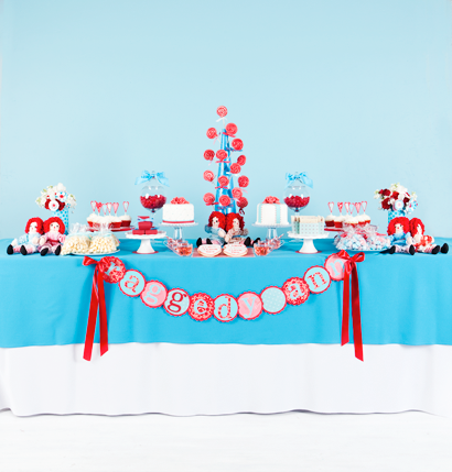 Raggedy Ann Theme. One of my favorite color combos - red, aqua, and white.