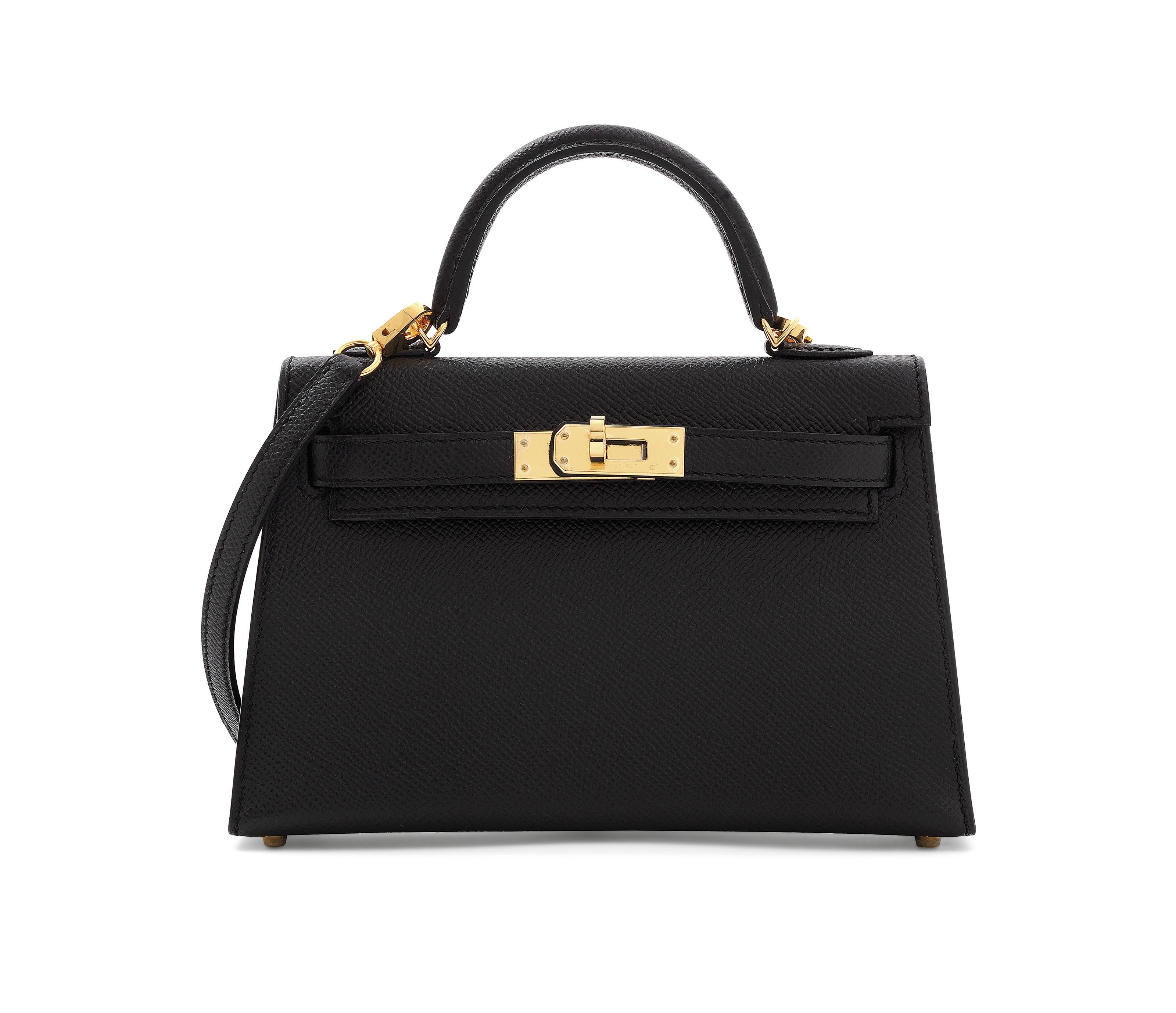 7432d89f6fe0 A BLACK EPSOM LEATHER SELLIER MINI KELLY 20 II WITH GOLD HARDWARE ...