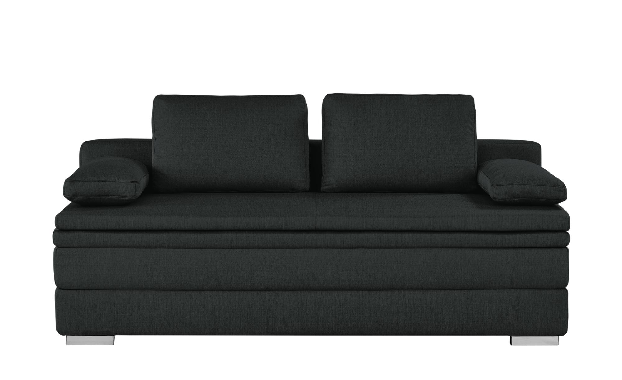Smart Boxspring Schlafsofa Grau Webstoff Daphne Big Sofa