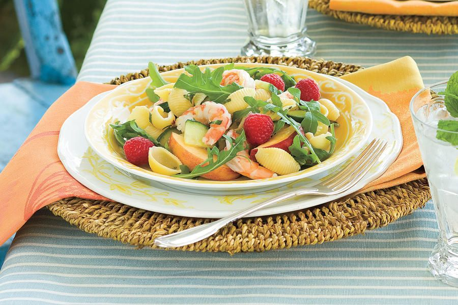 Shrimp-and-Pasta Salad - 23 Quick-Fix Salad Suppers - Southernliving. Light and lemony with a hint of honey mustard, Shrimp and Pasta Salad is easily doubled for dinner with friends.  Recipe:Shrimp-and-Pasta Salad Supper Ideas from the Pros  Test Kitchen Professional Rebecca Gordon shows you how to cook Shrimp-and-Pasta Salad for supper tonight.  Watch