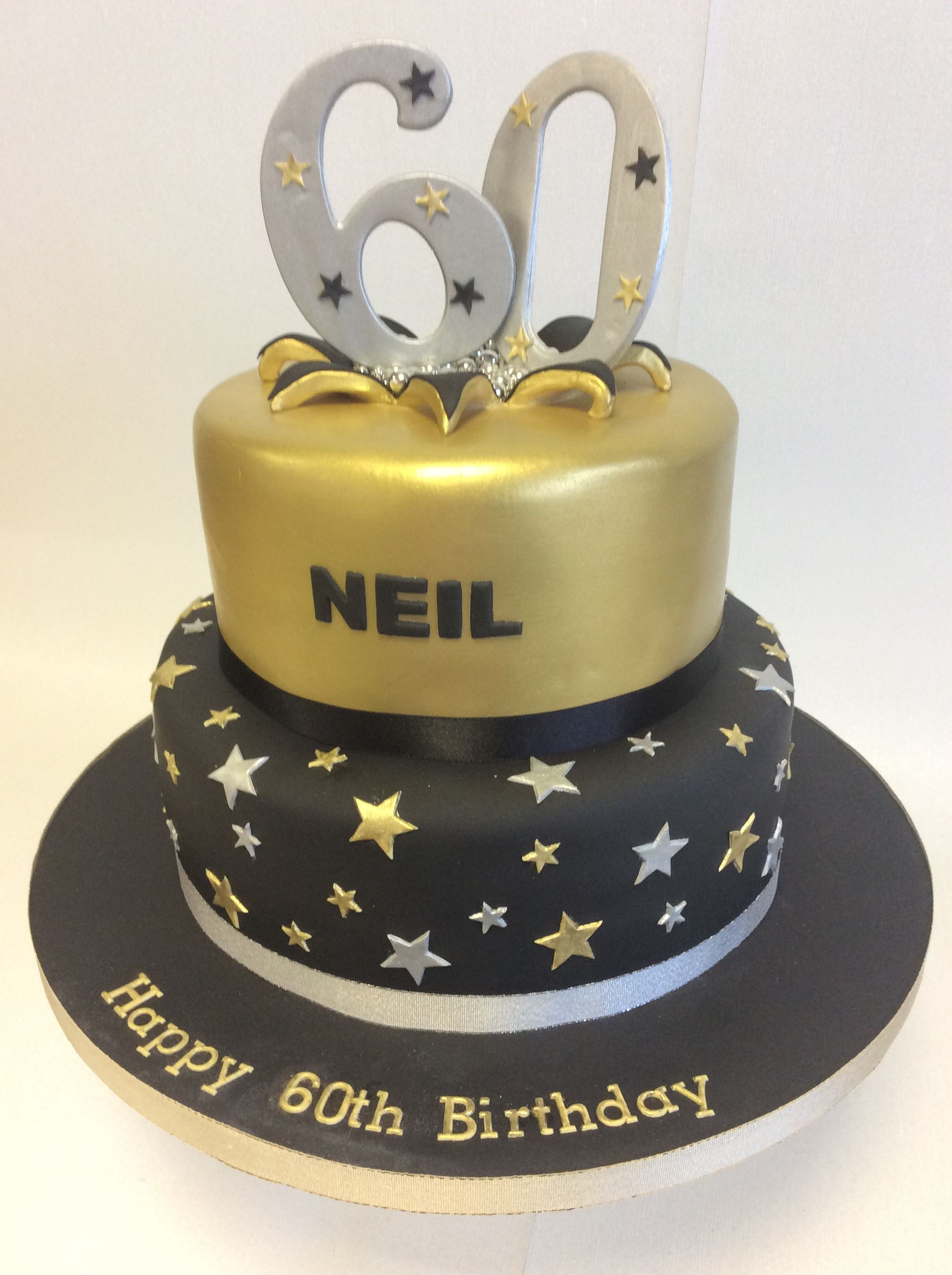 2 Tier Black Gold Theme 60th Birthday Cake Black And Gold