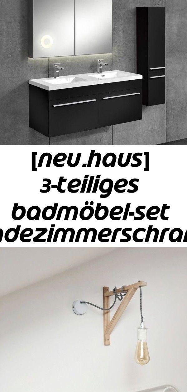 Neu Haus 3 Teiliges Badmobel Set Badezimmerschrank Mit Waschbecken Spiegel 3 Decor Vanity Single Vanity
