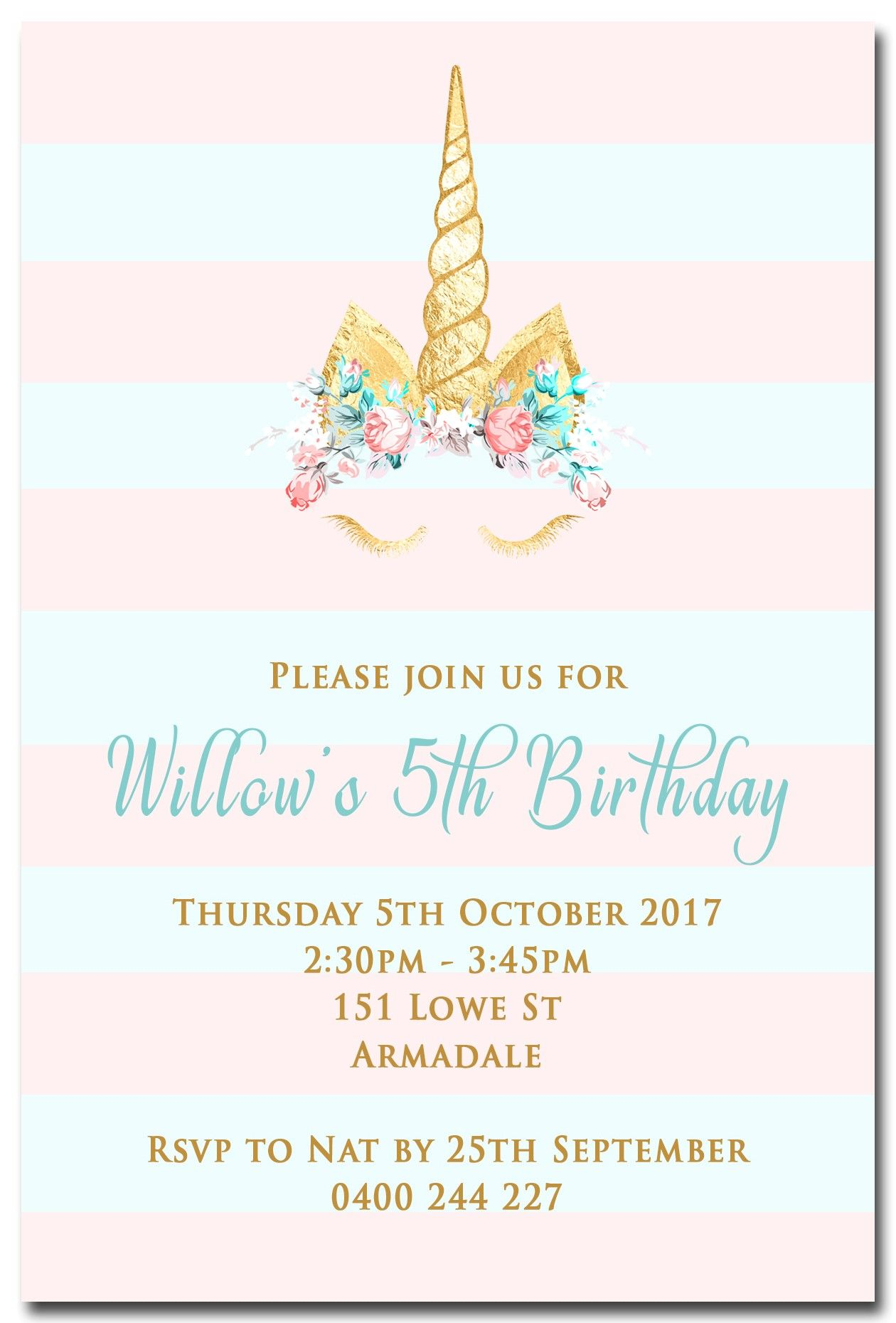 Birthday Party Invitations Excellent Unicorn To Create Your Own Free Printable Attractive