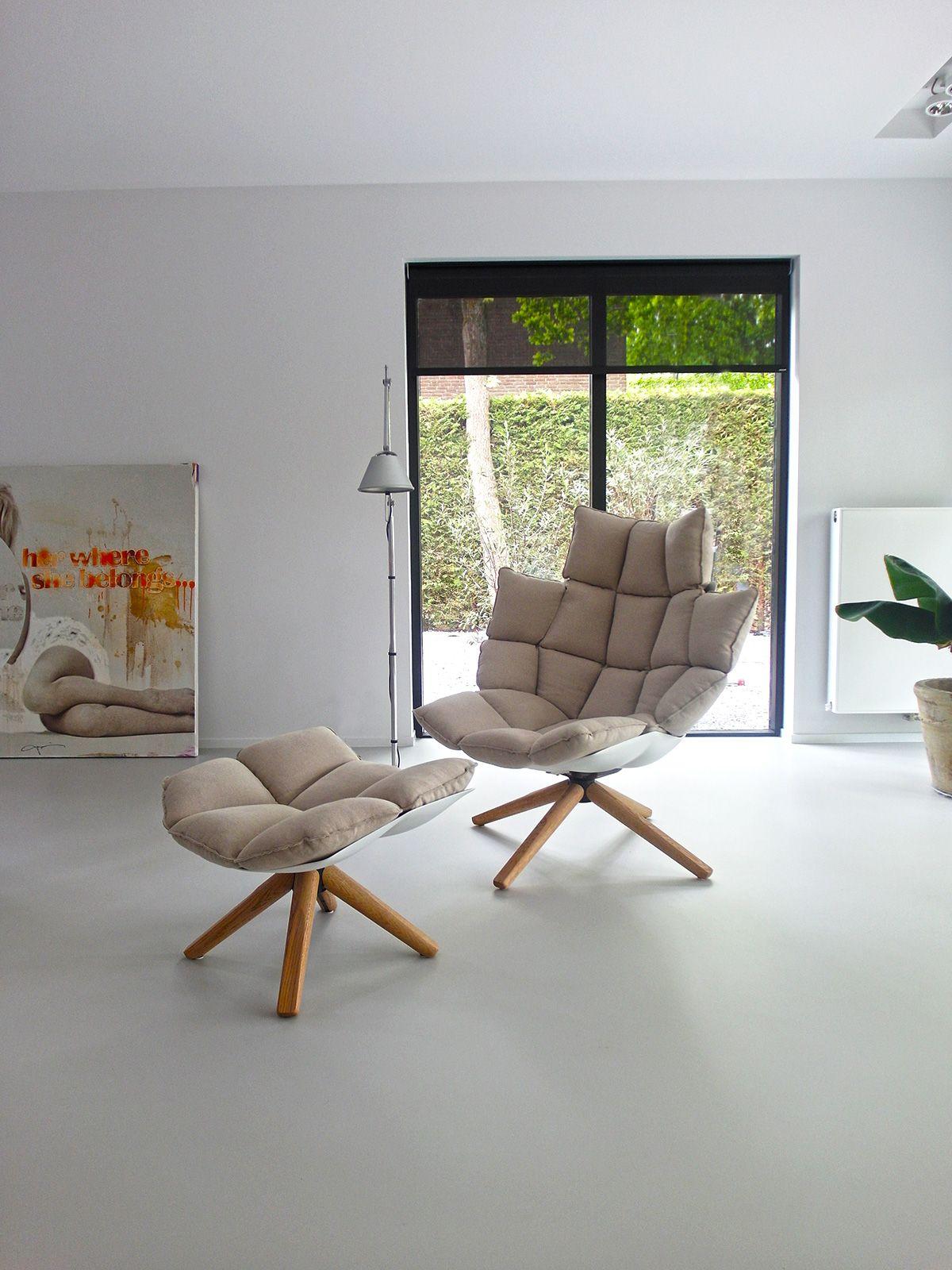Gietvloer woonkamer grijs B&B Italia Husk fauteuil Wassenaar ...