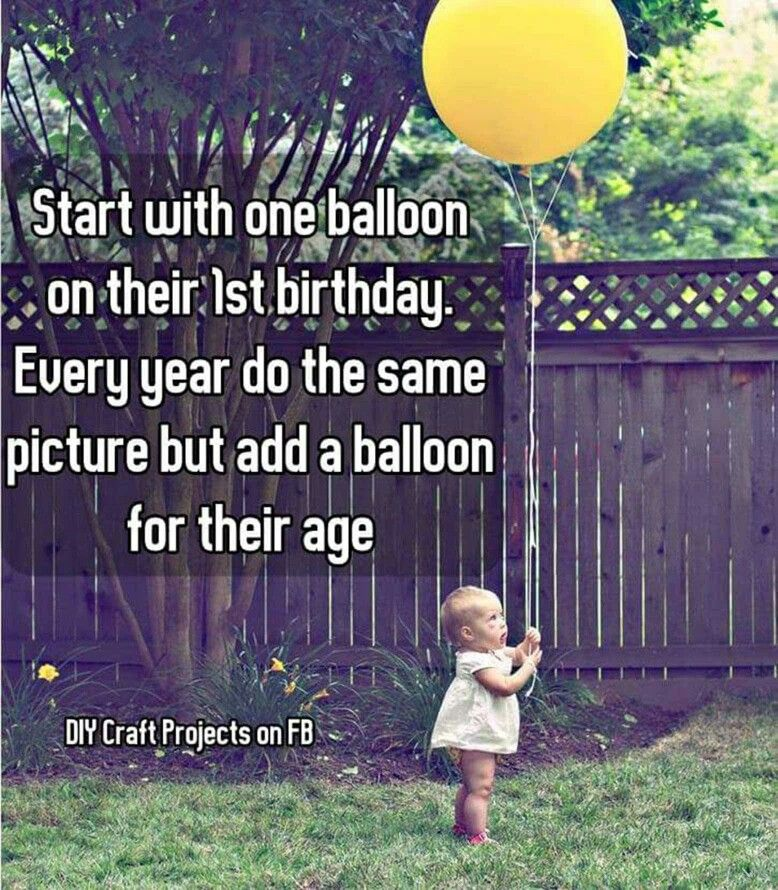 start with one balloon on their 1st birthday every year do the same