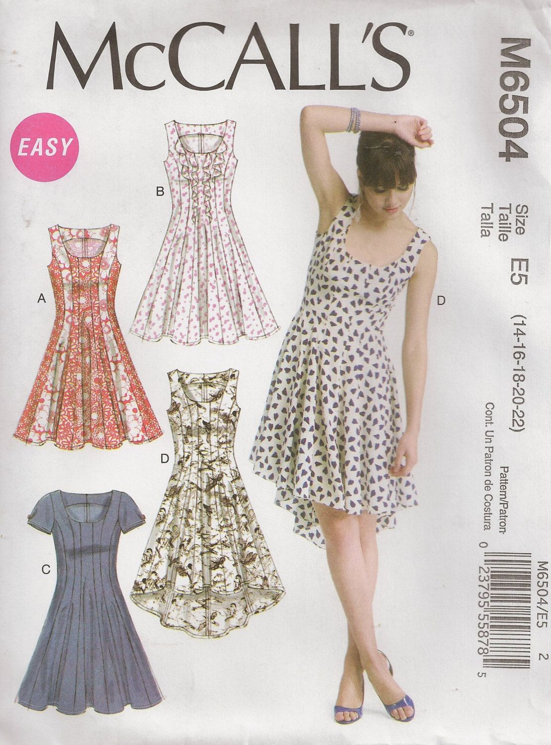 Mccall 39 S M6504 Misses 39 Dresses Size 14 16 18 20 22 Sewingpattern Summer Dress Sewing Patterns Summer Dress Patterns Dress Sewing Patterns [ 1500 x 1111 Pixel ]