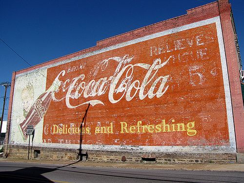 Coca Cola wall sign - Batesville, Arkansas  A beauty of a wall sign in Batesville, Arkansas. It looks like there were at least 2 versions of Coke signs painted on the side of the building.
