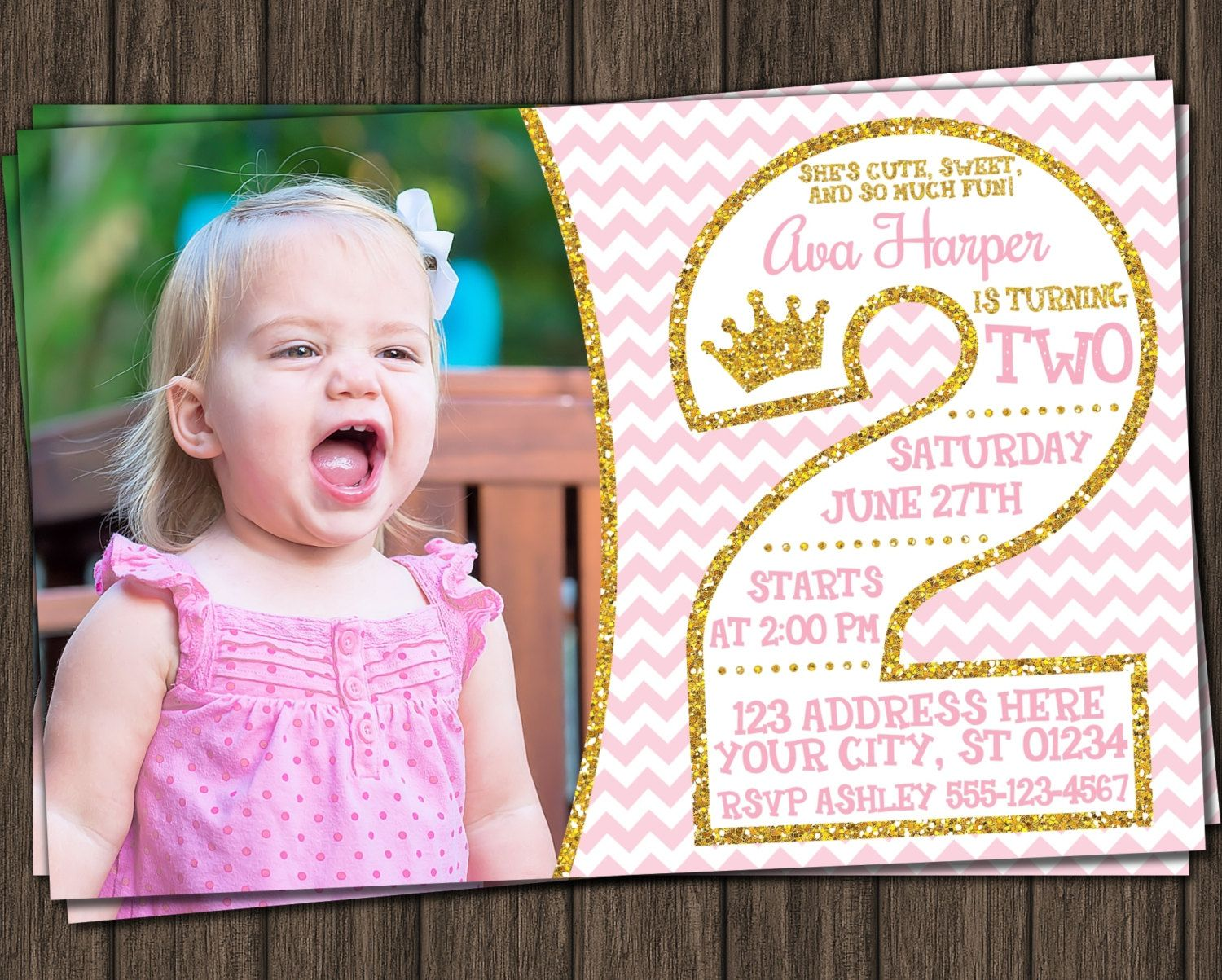 Princess 2nd Birthday Invitation In Pink And Gold With Photo