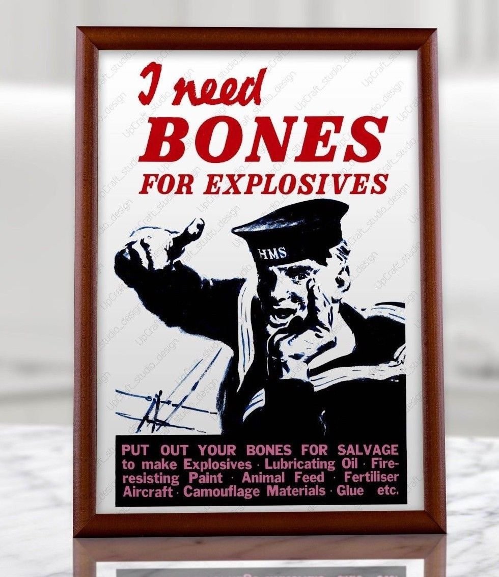 poster Salvage Bones Wall art. Reproduction WW2 information advert