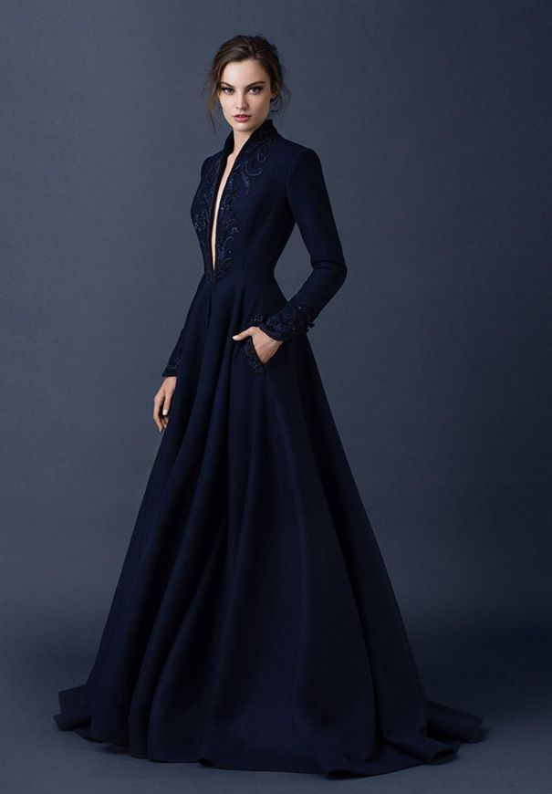 Navy Blue V-neck Embroidery Satin Wedding Evening Dress Formal Prom Party Gowns