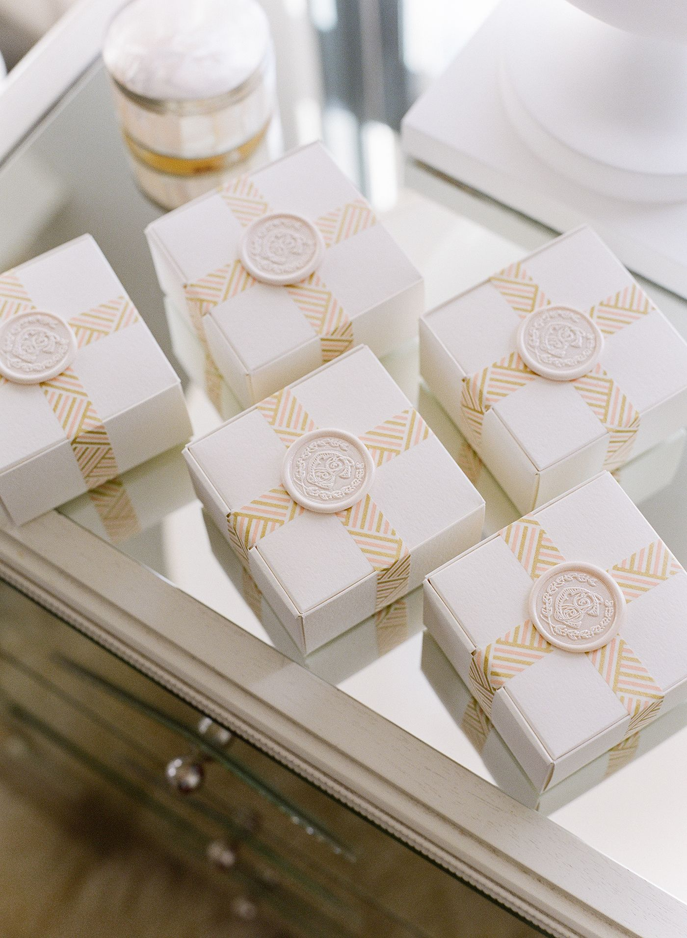 Rosemary Beach Wedding, bridesmaid gift box idea, gift box wax seal ...