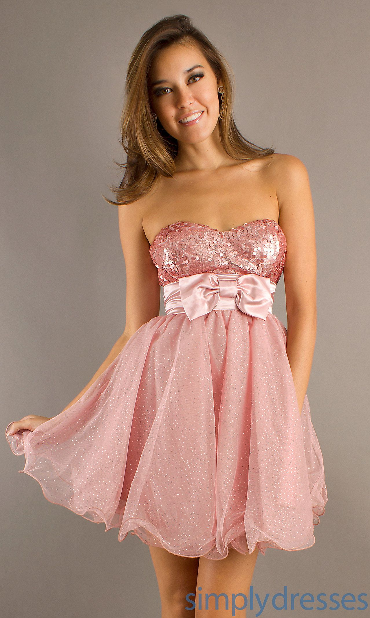 Pink Party Dresses, Strapless Short Prom Dresses - Simply Dresses ...