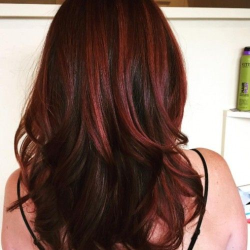 Dark red highlights in chocolate brown locks. Gorgeous ...
