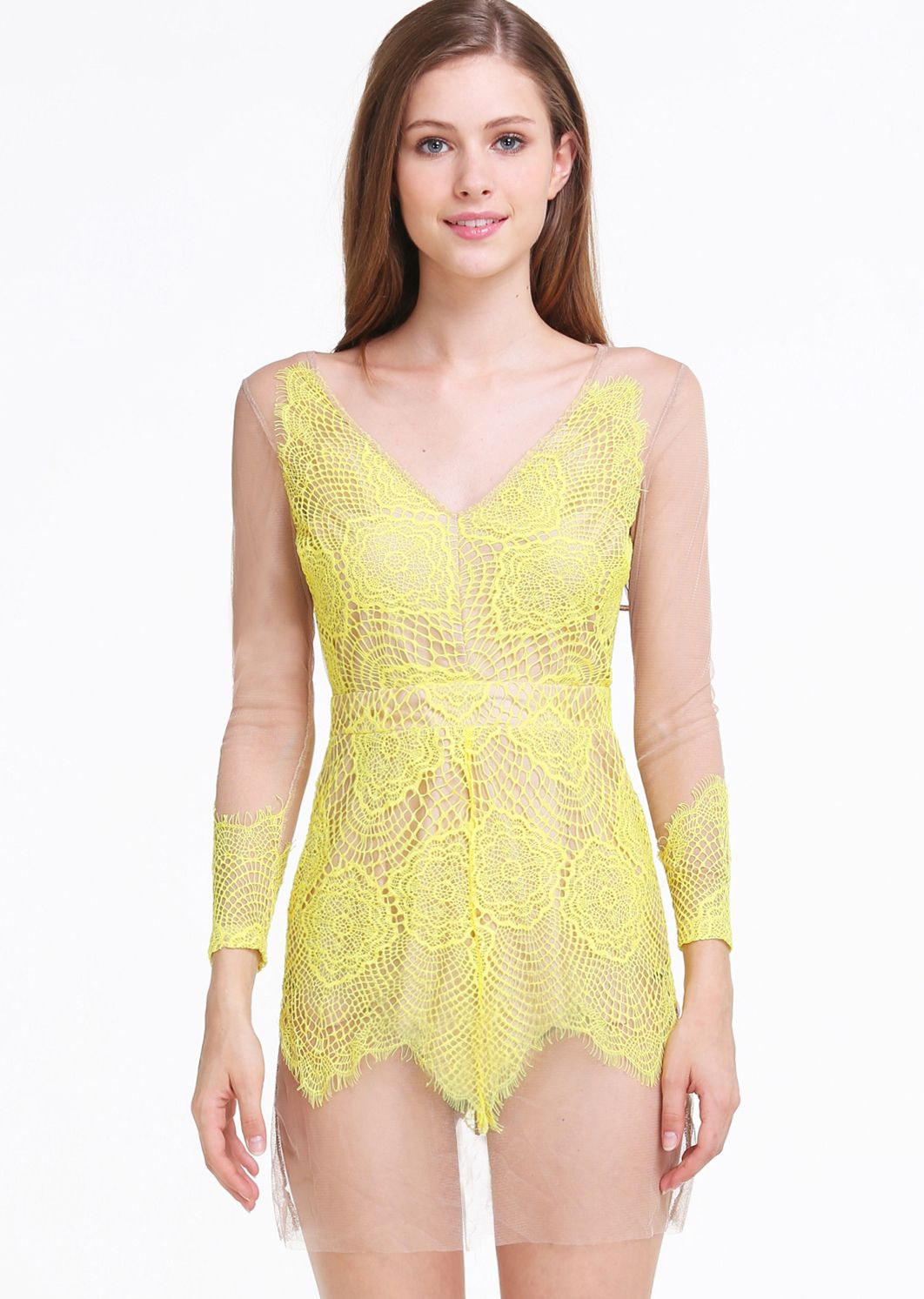 Yellow dress long sleeve  Yellow V Neck Long Sleeve Backless Lace Dress  Absolutely Love It