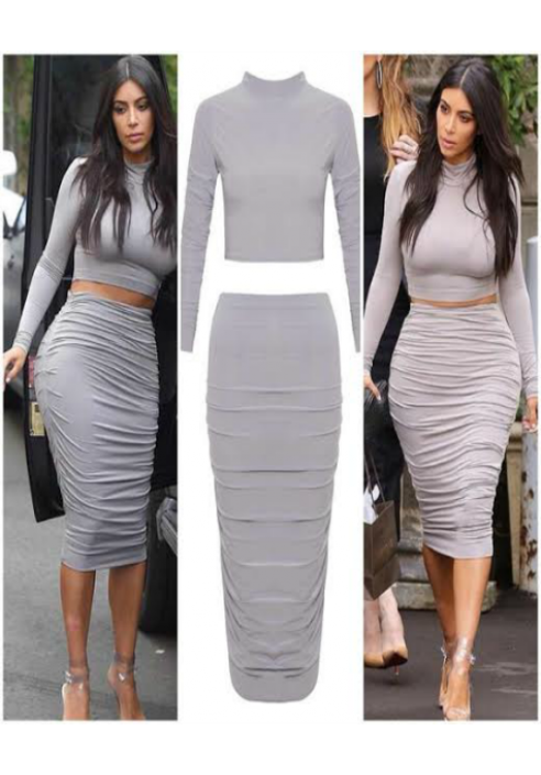 8a18fd56166 KIM K INSPIRED Crop Top & Pencil Skirt 2 Piece Set - Celeb Style Dresses -  Dresses
