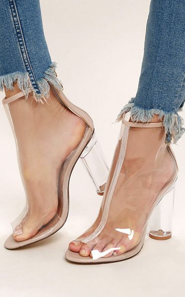 273d876f67 Giana Transparent Lucite Peep-Toe Booties | EU BRUNO DIAZ | Zapatos ...