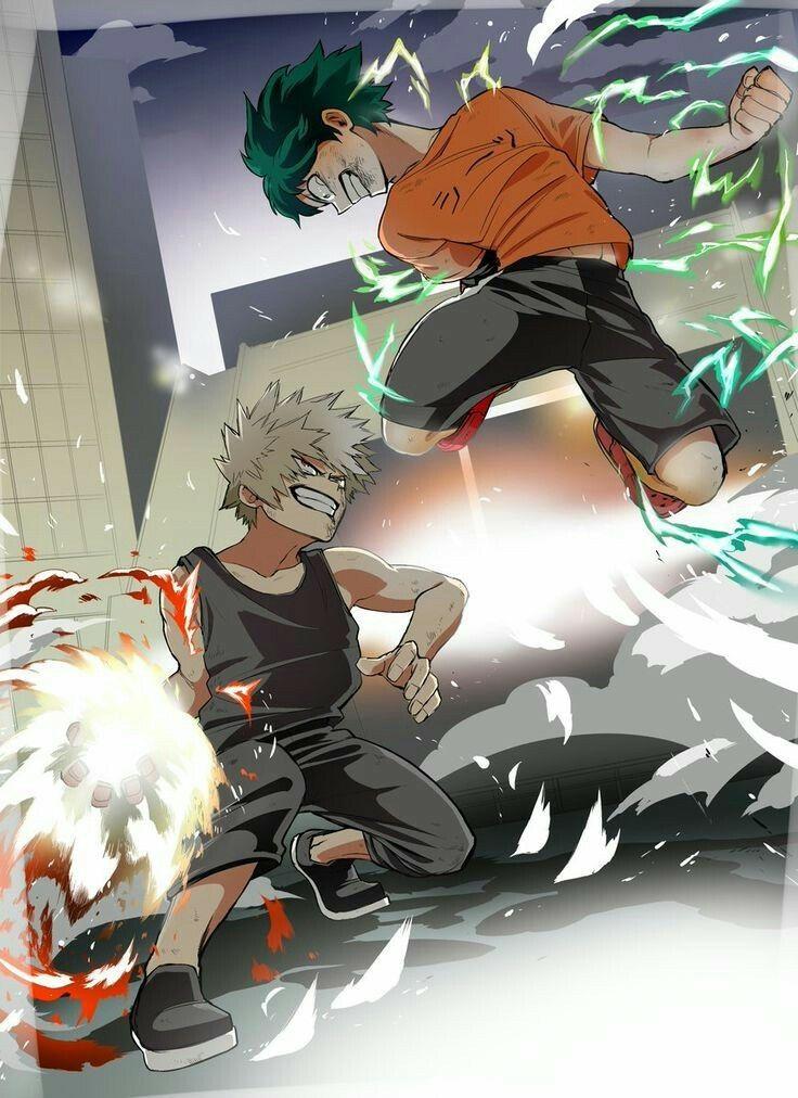 Izuku, Katsuki, battle, Quirks, cool, angry