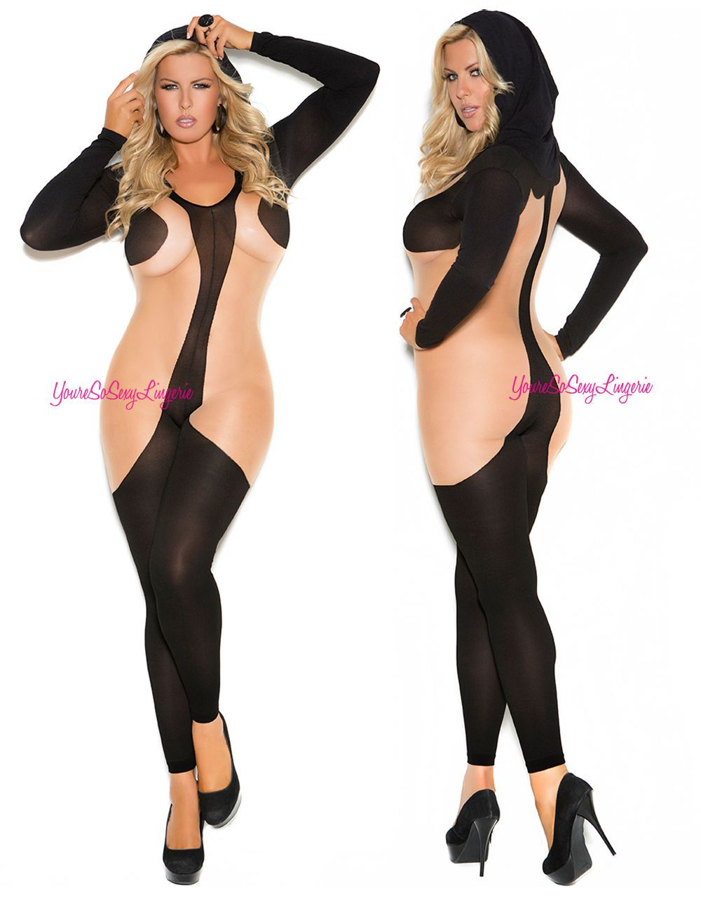 e39e7f368 Plus Size Long Sleeve Bodystocking Hooded Opaque   Sheer Crotchless Footless