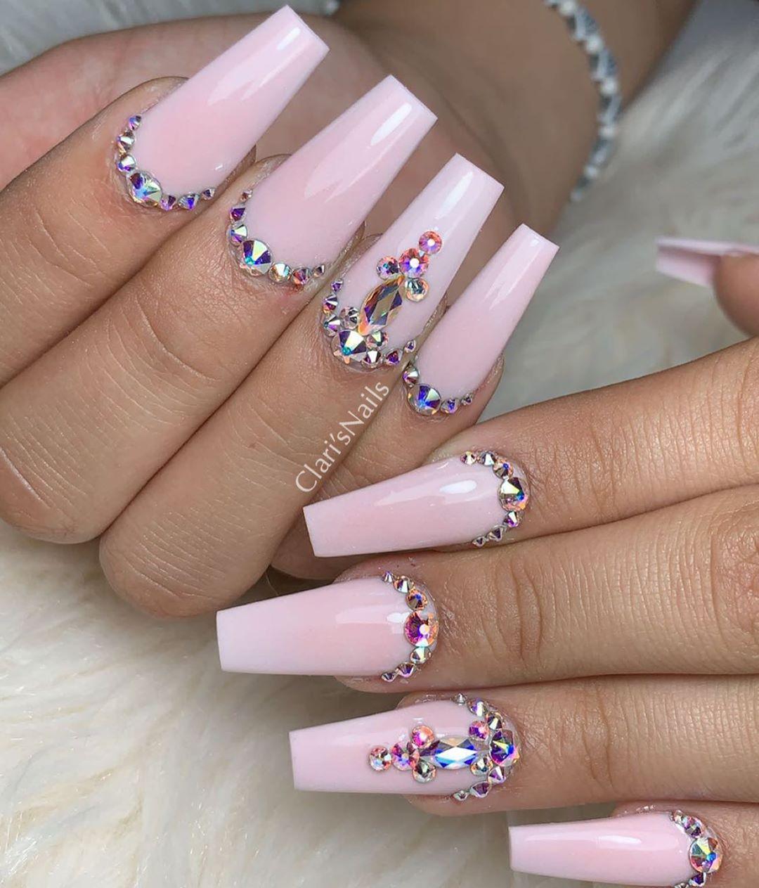 Skybeadsonline Swarovski Glamandglitsnails Clawaddicts Nailife Nails Pinknails Prettynail Baby Pink Nails Baby Pink Nails With Glitter Pink Bling Nails