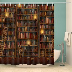 Nerdy Ancient Bookcase Bookshelf Shower Curtain Bathroom Decor