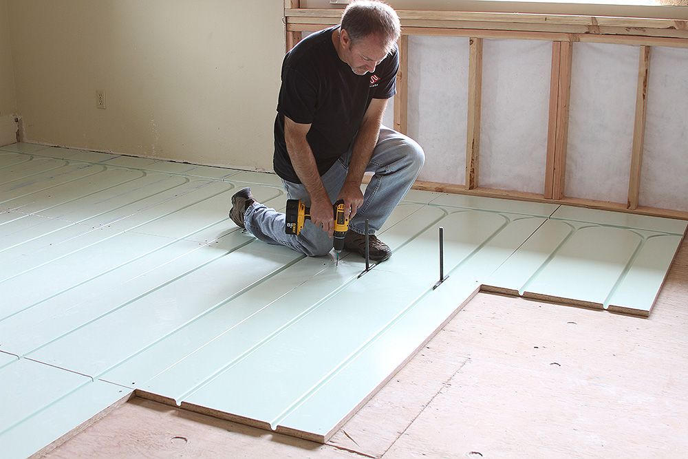 WarmboardR panels install directly over existing slab or