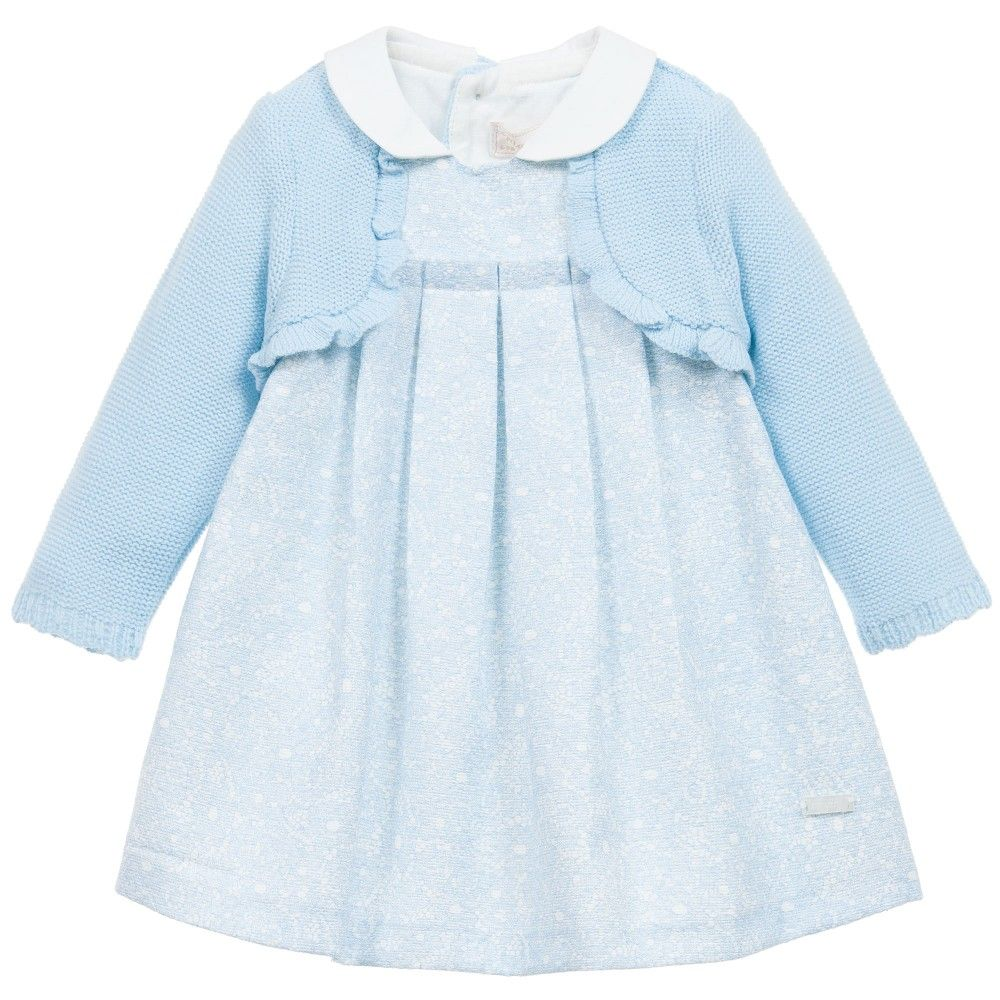Baby Girls Blue Lace Print & \'Cardigan\' Dress