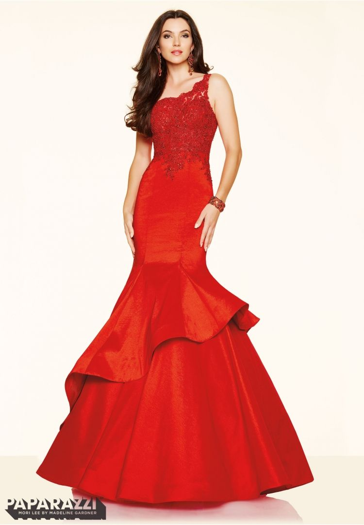 Prom dresses by paparazzi prom lace with beading on stretch taffeta