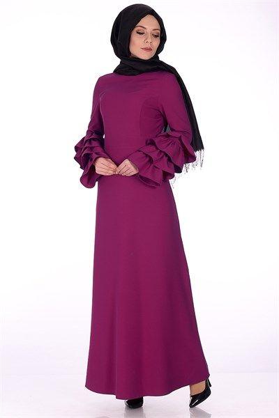 Tesettur Kollari Firfirli Elbise 5548 Fusya Elbise Modelleri Kirazgiyim Elbise Elbise Modelleri Sik