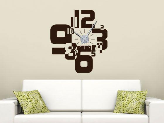 Wandtattoo Uhr Zahlenmix Fur Dein Wohnzimmer Wanduhren Pinterest