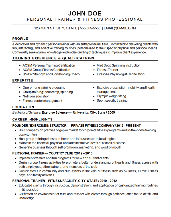 Sports Fitness Resume Example | Resume examples