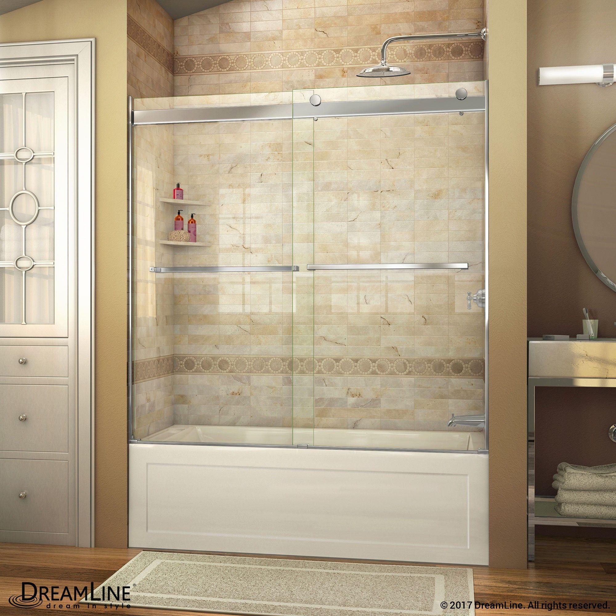 The Dreamline Essence Frameless Sliding Bypass Tub Door Showcases