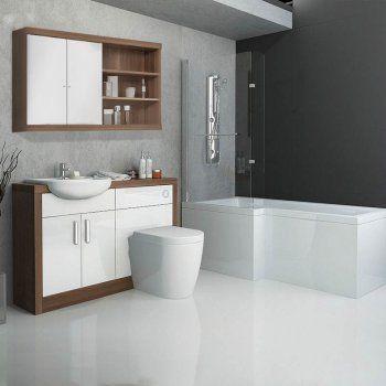 Beau Lucido Basin U0026 Toilet Combination Unit With L Shape Shower Bath Suite  Amazing Range